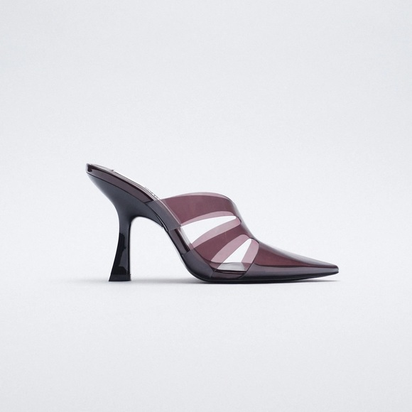 NWT. Zara Aubergine Vinyl High-heel Mules. Size 9.